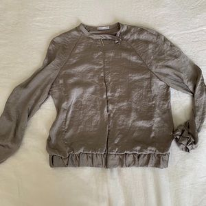 Zara grey silk bomber jacket